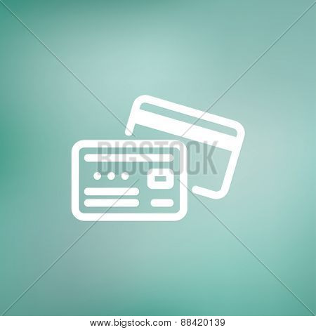Identification card icon thin line for web and mobile, modern minimalistic flat design. Vector white icon on gradient mesh background.