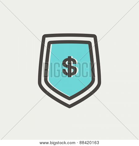 Jeans pocket with dollar symbol icon thin line for web and mobile, modern minimalistic flat design. Vector icon with dark grey outline and offset colour on light grey background.