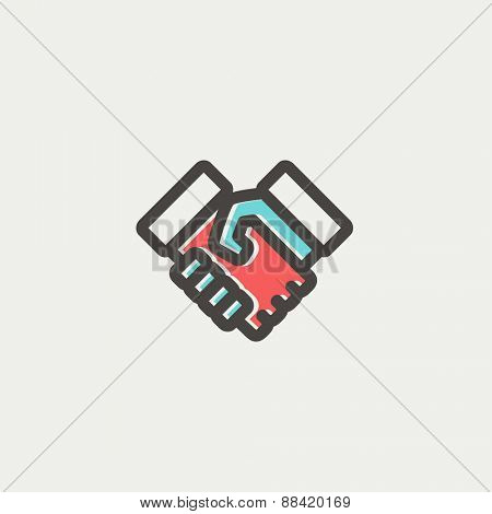 Handshake icon thin line for web and mobile, modern minimalistic flat design. Vector icon with dark grey outline and offset colour on light grey background.