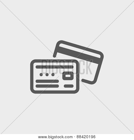 Identification card icon thin line for web and mobile, modern minimalistic flat design. Vector dark grey icon on light grey background.