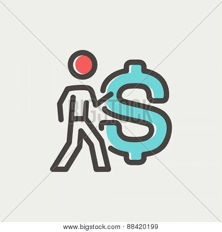 Man with big dollar symbol icon thin line for web and mobile, modern minimalistic flat design. Vector icon with dark grey outline and offset colour on light grey background.