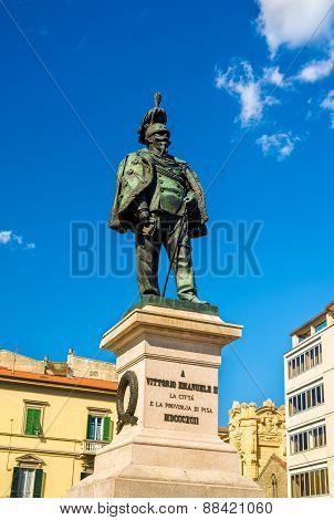 Statue Of Vittorio Emanuele Ii In Pisa - Italy