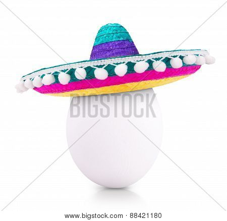 egg in sombrero isolated on white background
