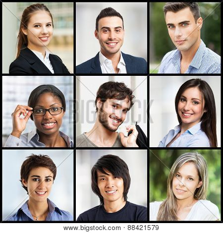 Collage of smiling young people