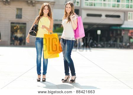 Two friends shopping together