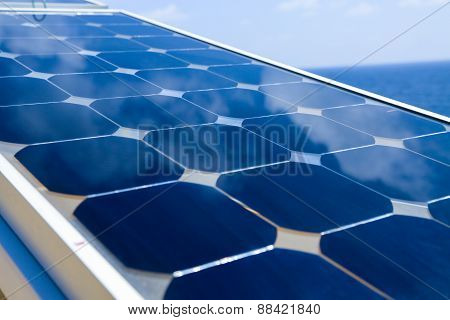 Solar cell generated electrical power by sun light, Closeup of blue photovoltaic solar panels, Green