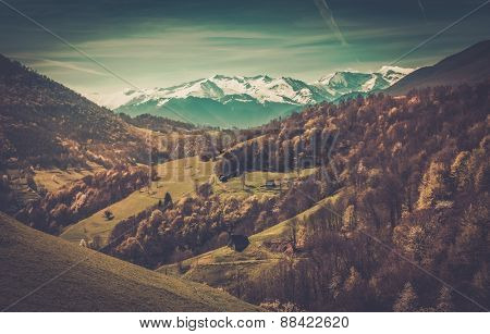 View over Pyrenees mountains