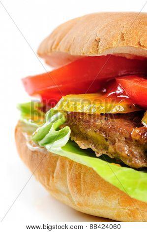 single fresh realistic looking half hamburger on white background