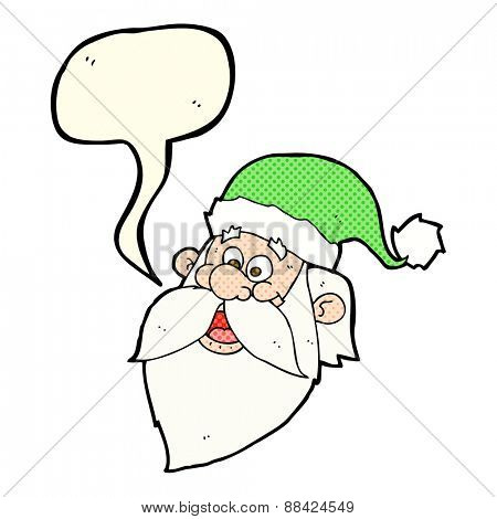 cartoon jolly santa claus face with speech bubble