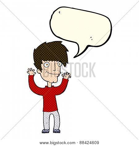 cartoon man waving arms with speech bubble
