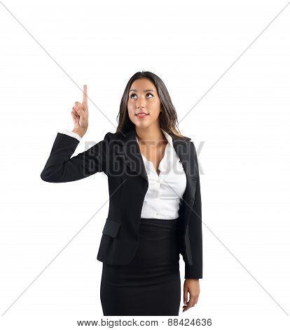 Businesswoman indicate