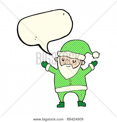 cartoon dancing santa with speech bubble