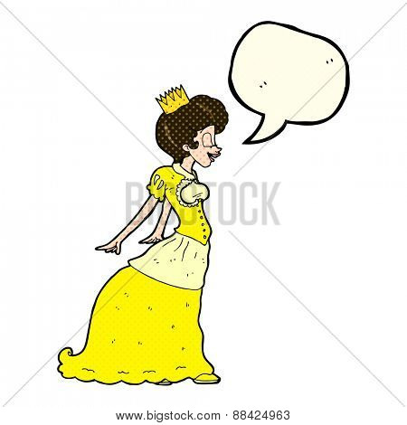 cartoon princess with speech bubble