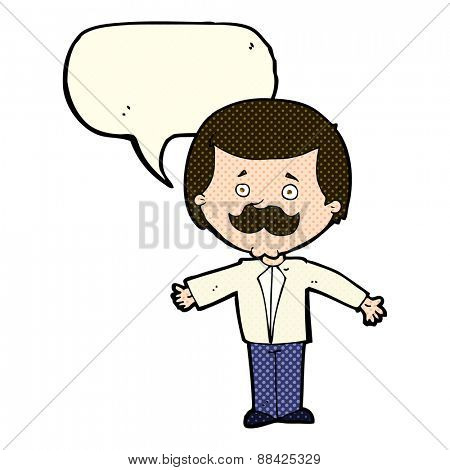 cartoon mustache man with open arms with speech bubble