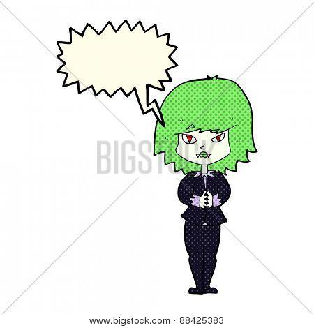 cartoon vampire woman with speech bubble