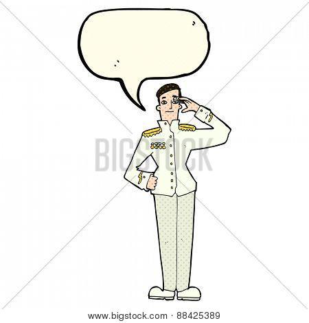 cartoon military man in dress uniform with speech bubble