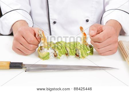 Green rolls with avocado