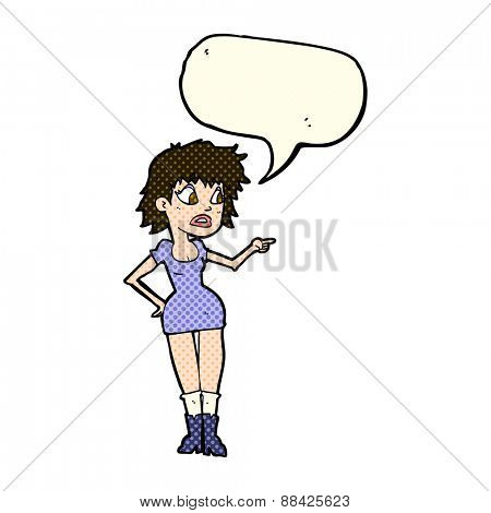 cartoon worried woman in dress pointing with speech bubble