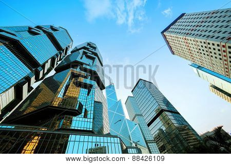 Hong kong,China-January, 26,2015:low angle view of skyscrapers in Hong kong.