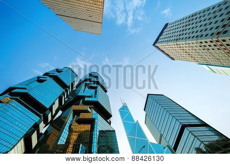 Hongkong,China-January 26,2015:low angle view of skyscrapers in modern city Hong kong.