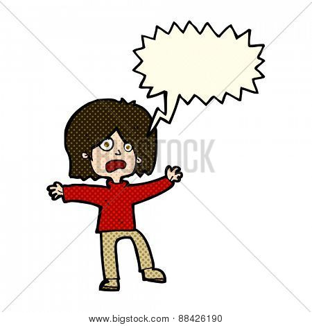 cartoon unhappy person with speech bubble