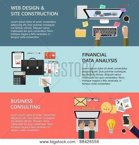 Modern concepts collection in flat design for e-business, web site construction, mobile applications, banners, corporate brochures, book covers, layouts etc. Vector eps10 illustration
