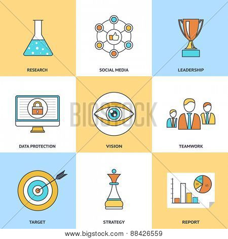 Modern line icons set in flat design for social media, e-business, web site development, mobile applications, banners, corporate brochures, book covers, layouts etc. Vector eps10 illustration