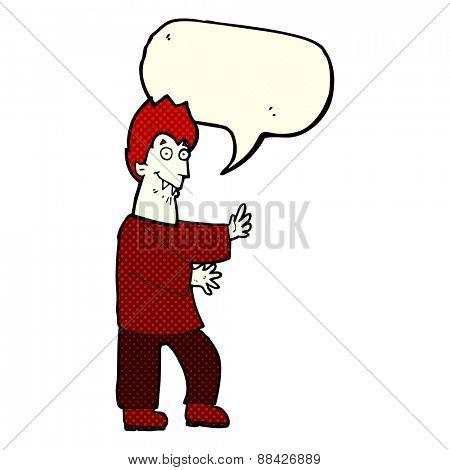 cartoon vampire waving hands with speech bubble