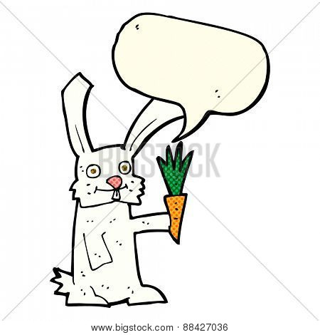 cartoon rabbit with carrot with speech bubble