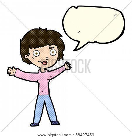 cartoon woman waving arms with speech bubble