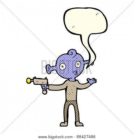 cartoon alien with ray gun with speech bubble