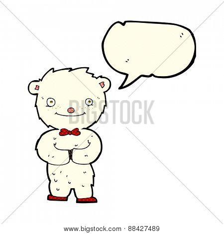 cartoon little polar bear with speech bubble