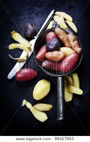 Potato preparation. Fresh organic vegetables. Food background. Healthy food from garden