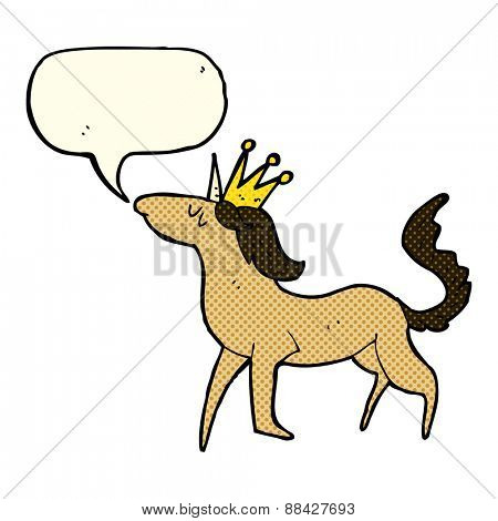 cartoon unicorn with speech bubble