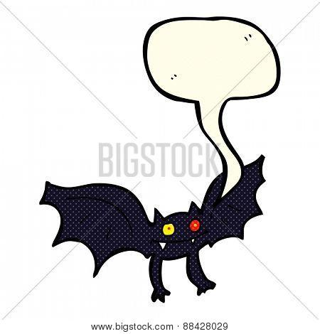cartoon vampire bat with speech bubble