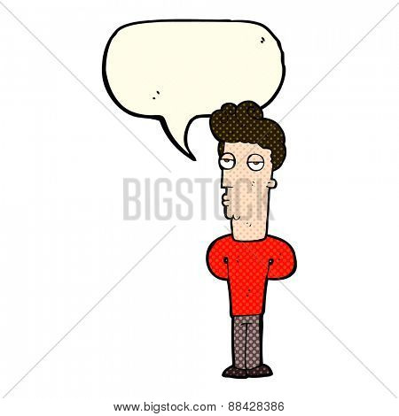 cartoon bored man with speech bubble