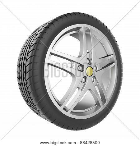 Sport car wheel isolated on a white background.