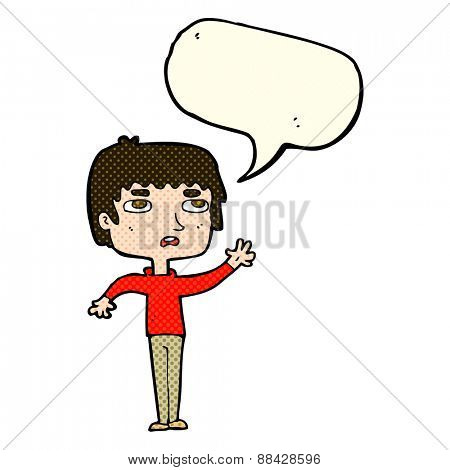 cartoon unhappy boy waving with speech bubble