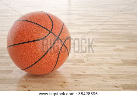 basketball ball on the wooden floor.