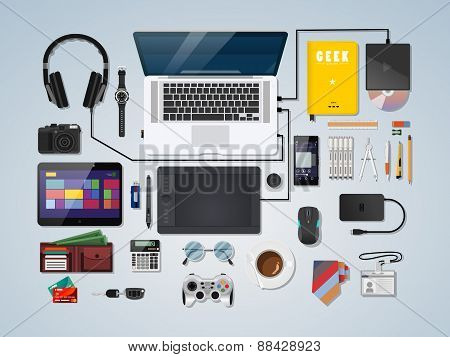 Semi Realistic Complete Modern Workspace Vector Illustration