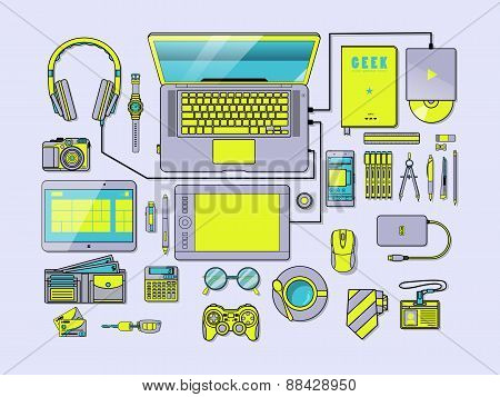 Complete Modern Workspace Vector Illustration