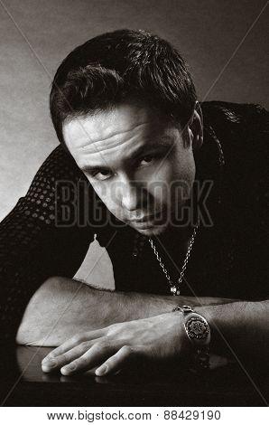 a photo of drastic  man portret. black-white