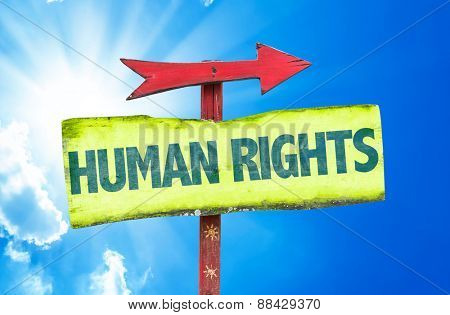 Human Rights sign with sky background