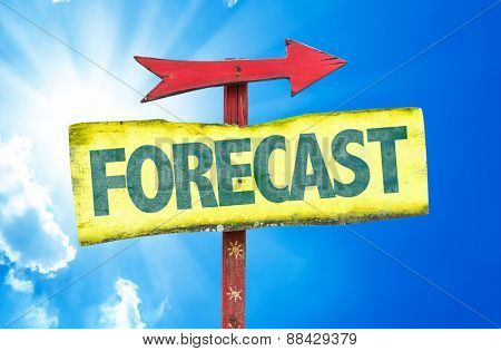 Forecast sign with sky background