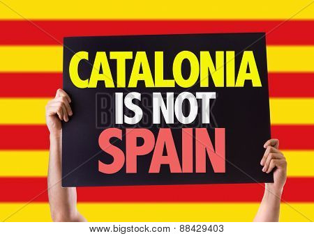 Catalonia Is Not Spain card with catalonia flag on background
