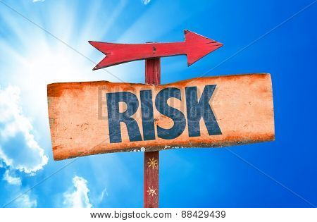 Risk sign with sky background