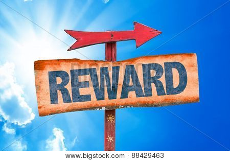 Reward sign with sky background