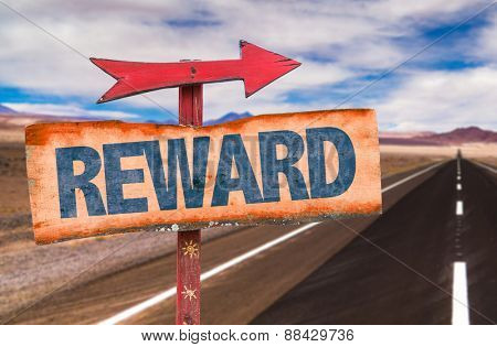 Reward sign with road background