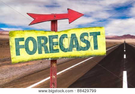 Forecast sign with road background
