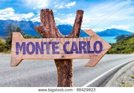 Monte Carlo wooden sign with road background